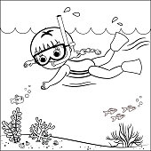 Black and white outline drawing of a swimming girl. Vector illustration.