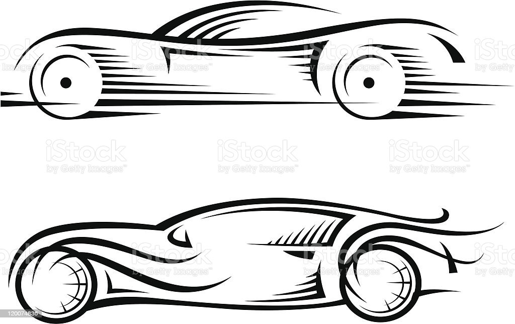 black and white outline drawing of two cars stock vector art more rh istockphoto com sports car outline vector sports car outline vector