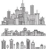 Black and white outline of city skyline