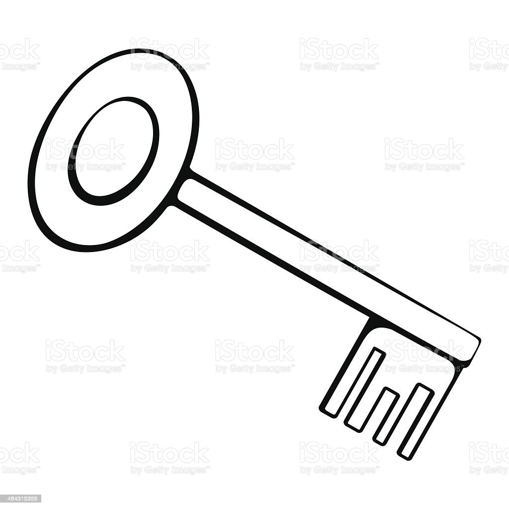 Black And White Outline Of The Key Royalty Free