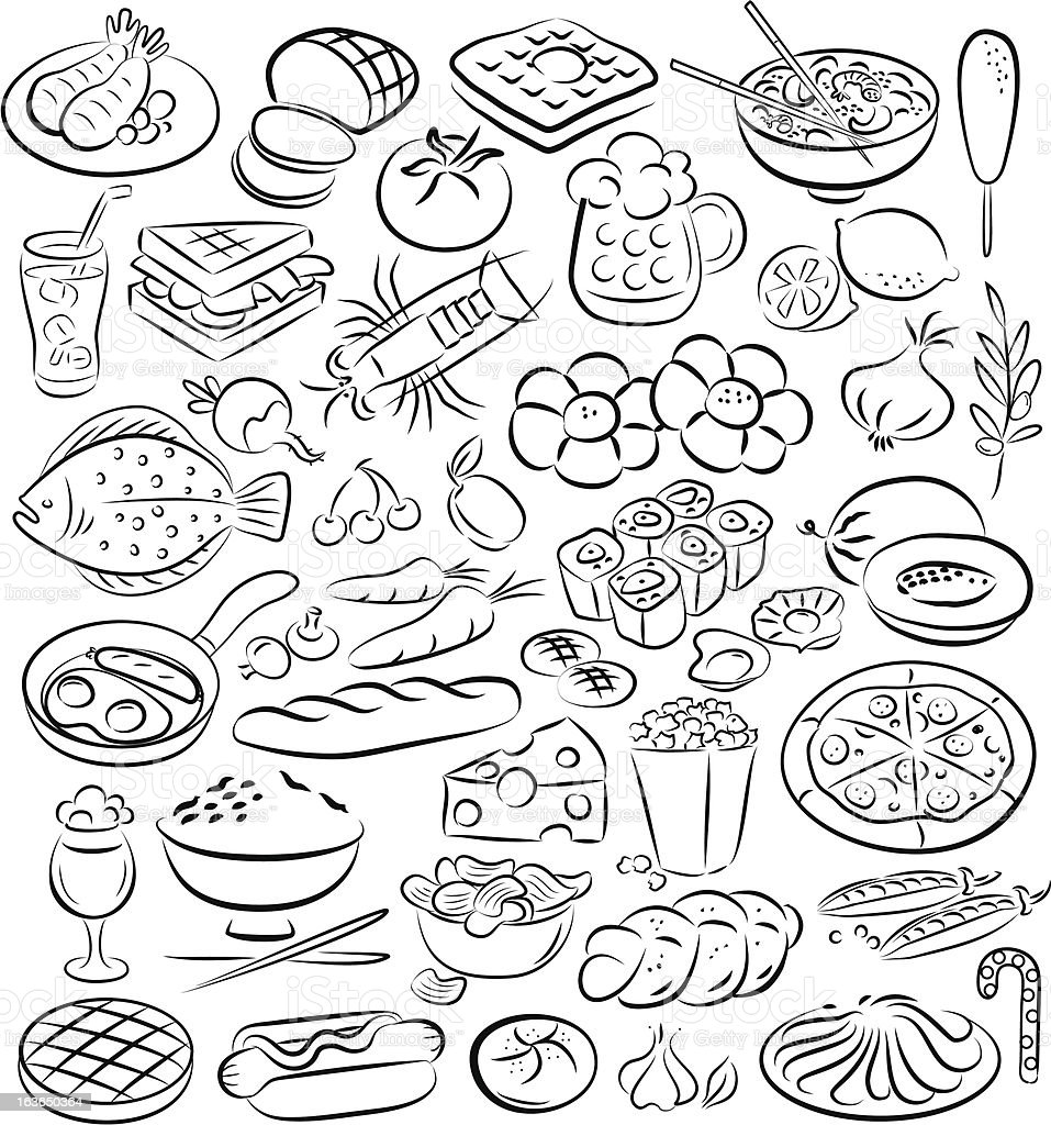Black and white outline sketches of food royalty-free stock vector art