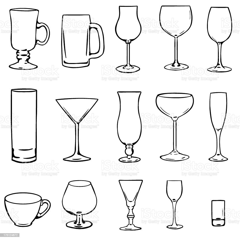 Black and white outline stemware icons royalty-free black and white outline stemware icons stock vector art & more images of abstract