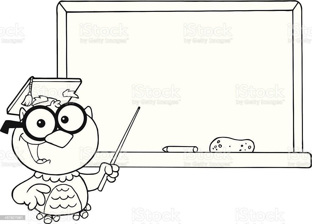 Black and White Owl Holding A Pointer In Front Chalkboard