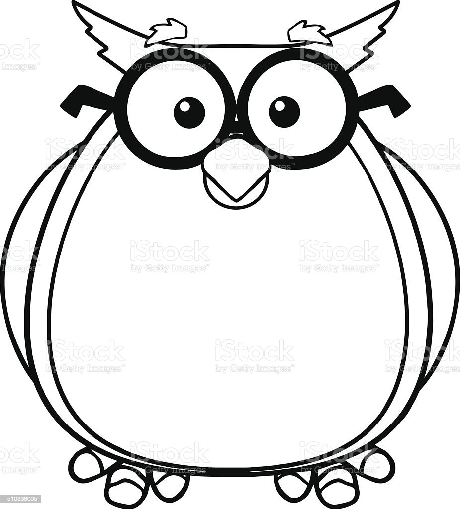 black and white owl sitting with glasses stock vector art more rh istockphoto com owl images clipart black and white snowy owl black and white clipart