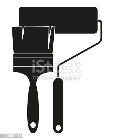 Black And White Paint Roller And Brush Silhouette Stock ...