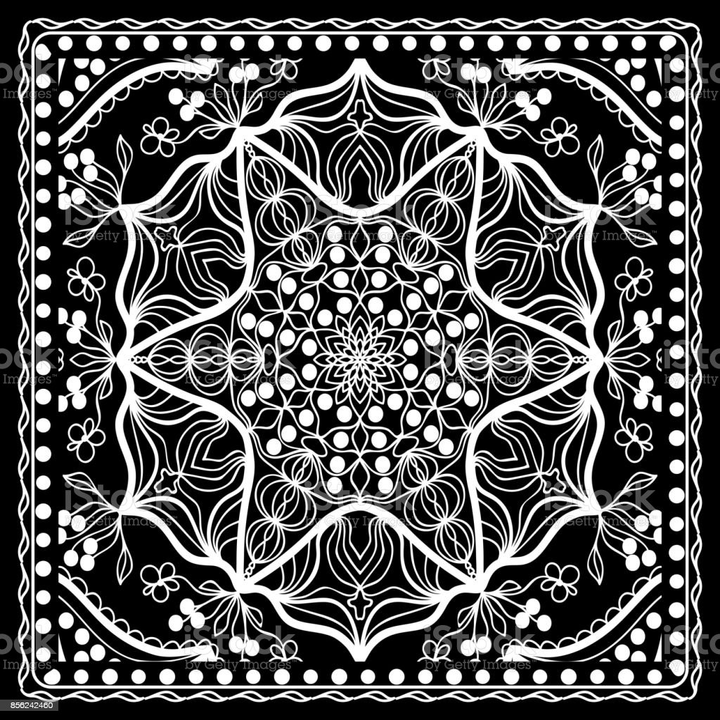 Black and white Paisley Bandana Print with Floral Pattern. Square pattern design for silk neck scarf, kerchief, pillow, carpet. vector art illustration