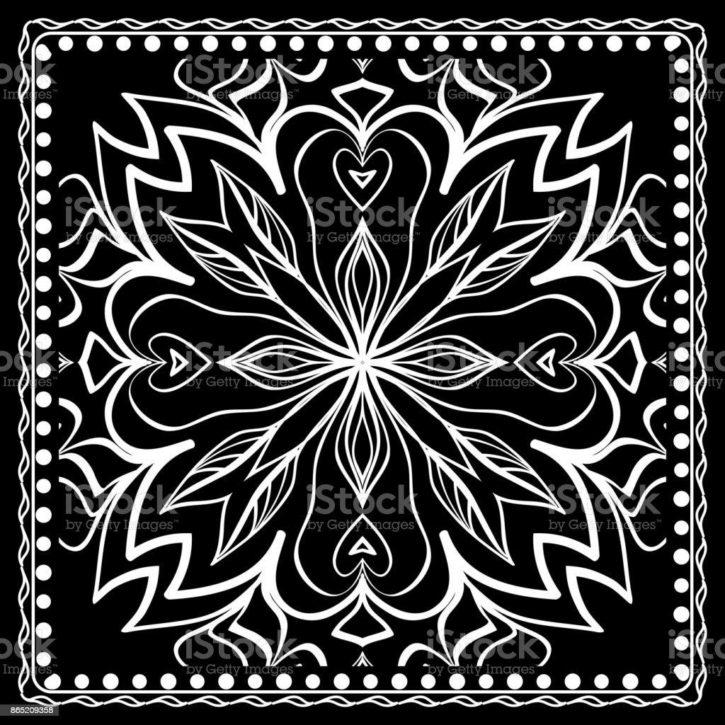 48012db1181c Noir et blanc Paisley Bandana imprimé avec motif Floral. Carré de modélisme  pour Foulard soie