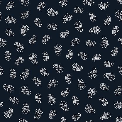 Black and white paisley seamless pattern.