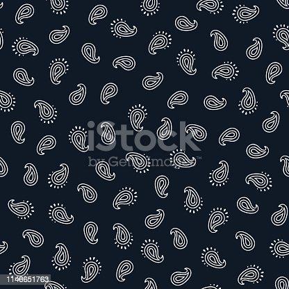 istock Black and white paisley seamless pattern. 1146651763