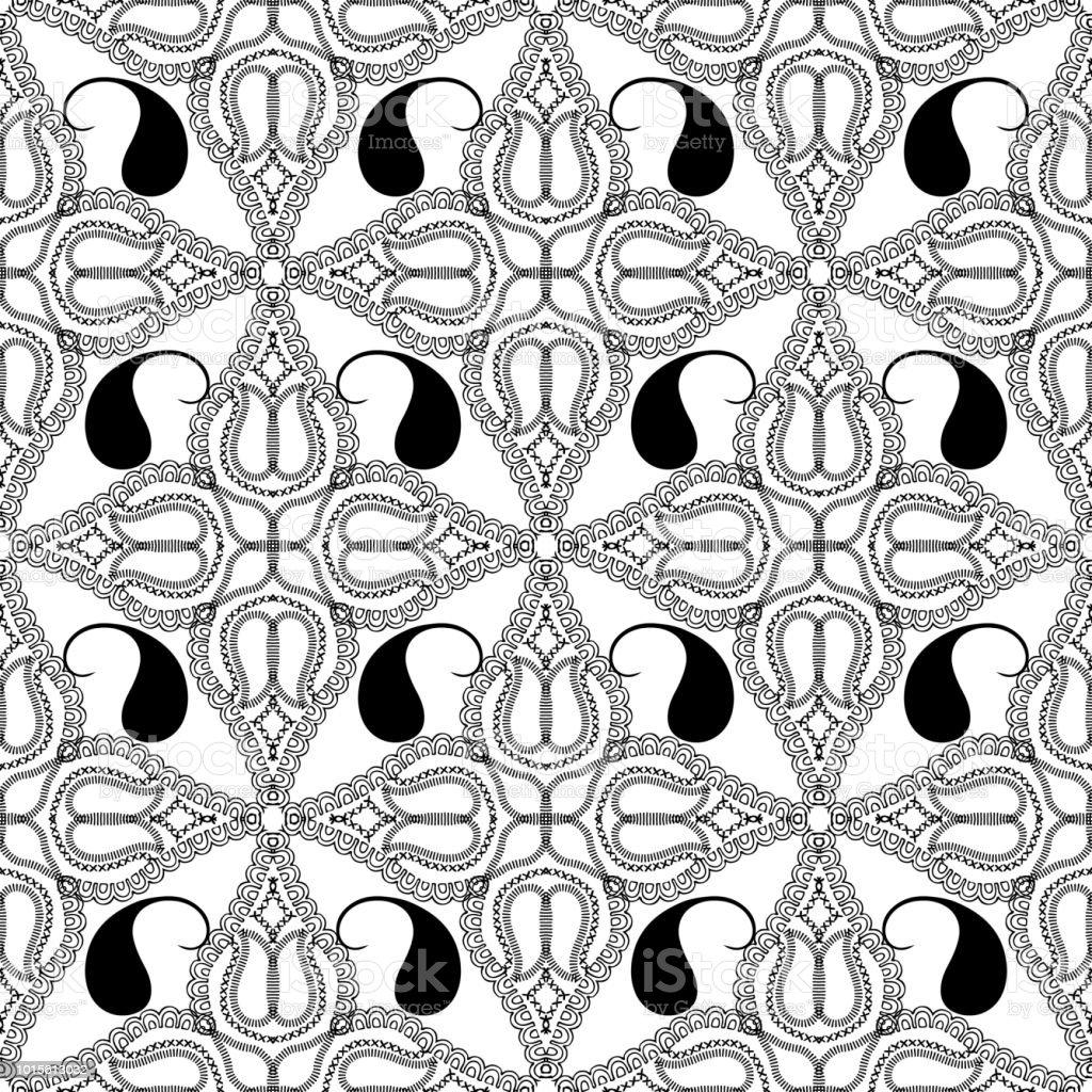 Ilustración de Blanco Y Negro Paisley Vector De Patrones Sin Fisuras ...