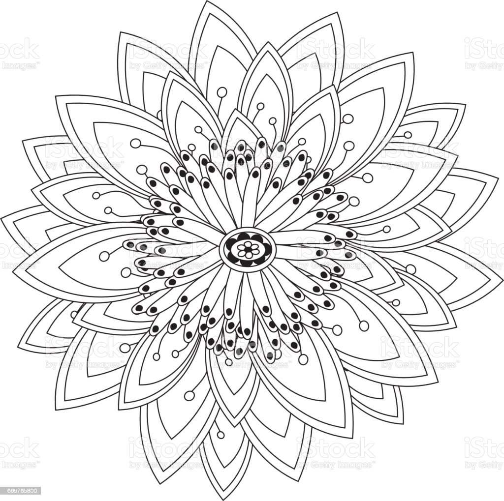 Black And White Pattern For Adult Coloring Book Stock Illustration -  Download Image Now