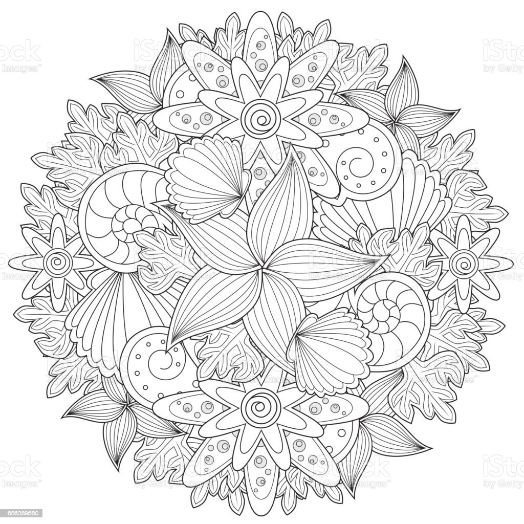 Black and white pattern for coloring book in doodle style. vektorkonstillustration