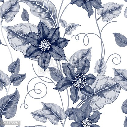 Floral seamless pattern on a white background for fabrics, textiles, wallpaper, paper. Vector. Black clematis flowers and ornamental berries. Design Victorian style.