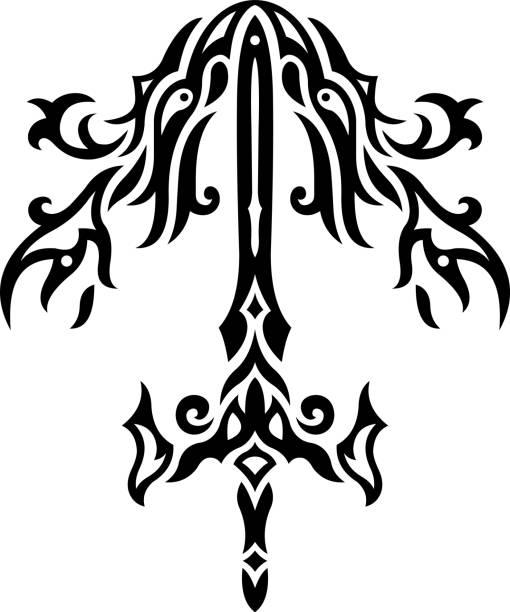 剣で黒と白のパターン - 短剣のタトゥー点のイラスト素材/クリップアート素材/マンガ素材/アイコン素材