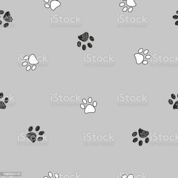 Black and white paw print repeated pattern with gray background vector id1090504742?b=1&k=6&m=1090504742&s=612x612&h=1yfe3jusafti7lyrvnlo2bk7m6plfzqmbpi20fc6t8g=