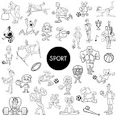 black and white people and sports cartoons