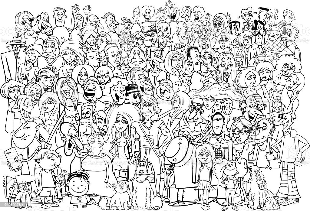 black and white people crowd vector art illustration