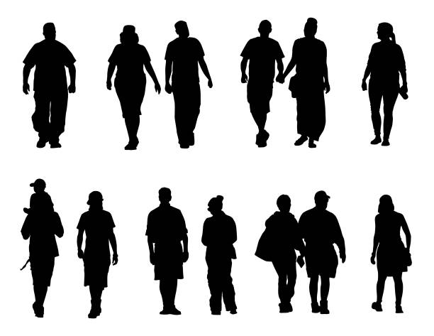 black and white people silhouette illustrations vector art illustration