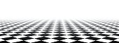 Black and white perspective checkered banner. Vector paper illustration.