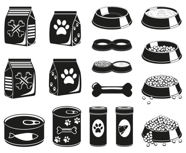 ilustrações de stock, clip art, desenhos animados e ícones de 16 black and white pet food silhouette elements - dog food