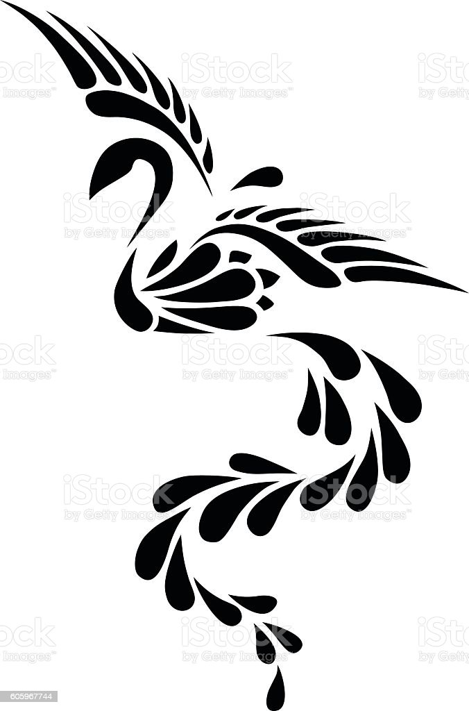 black and white phoenix tribal tattoo stock vector art