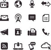 Black and white photo of 16 mono icons