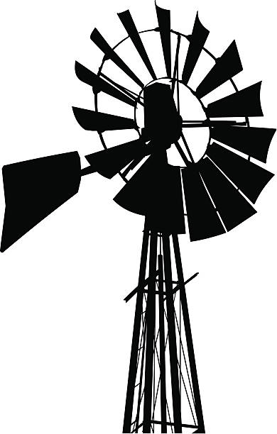 Black and white photo of an old windmill in silhouette vector art illustration
