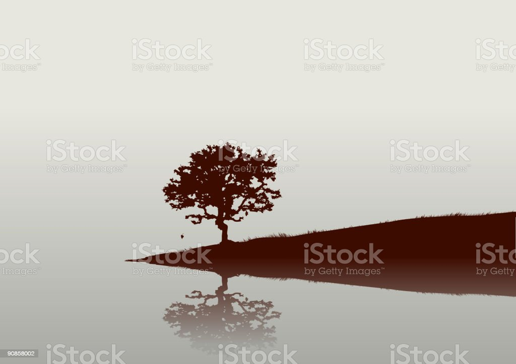 Black and white photo of bonsai tree reflecting in water royalty-free stock vector art
