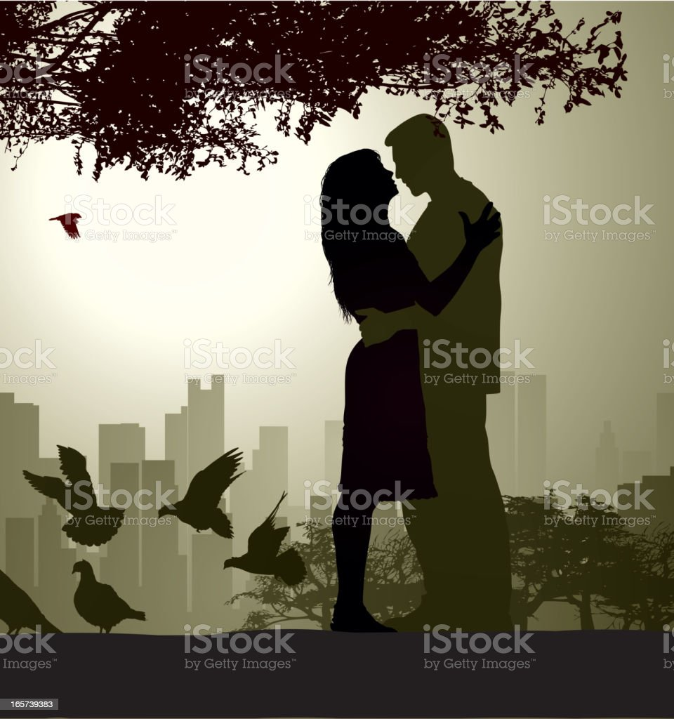 Black and white photograph of an embracing couple  vector art illustration