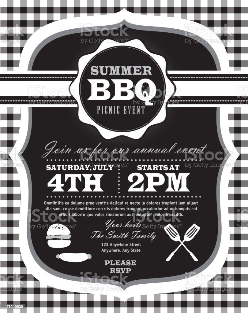 Black and white Picnic invitation design template vector art illustration