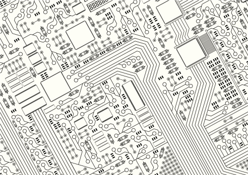 A black and white picture of a circuit board
