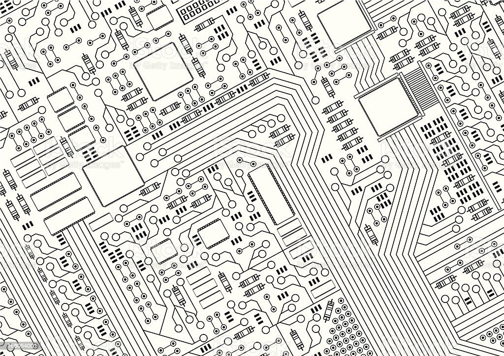 A black and white picture of a circuit board vector art illustration