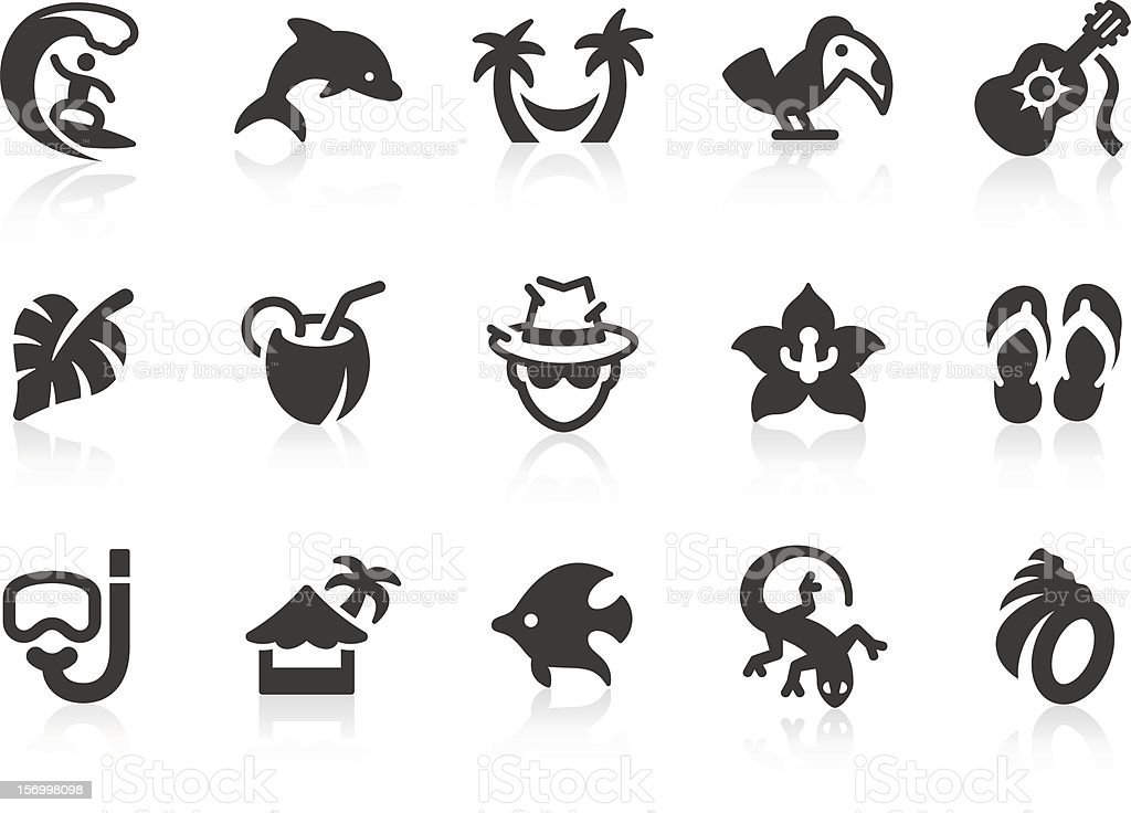 A black and white picture of tropical icons vector art illustration