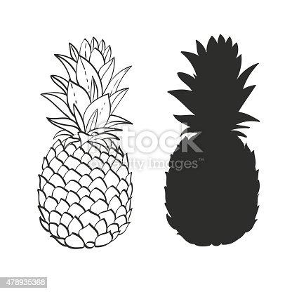 istock Black and white Pineapple 478935368