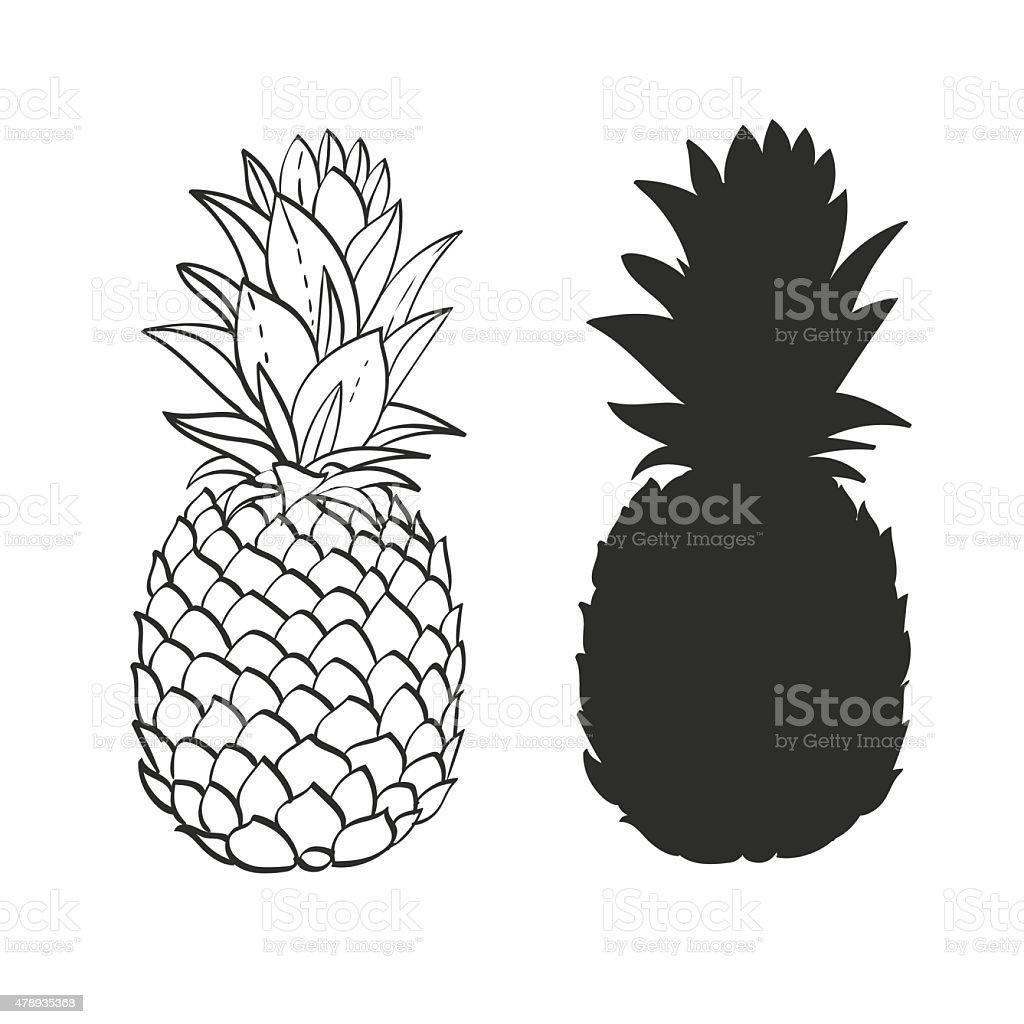 Czarny i biały ananasa – artystyczna grafika wektorowa