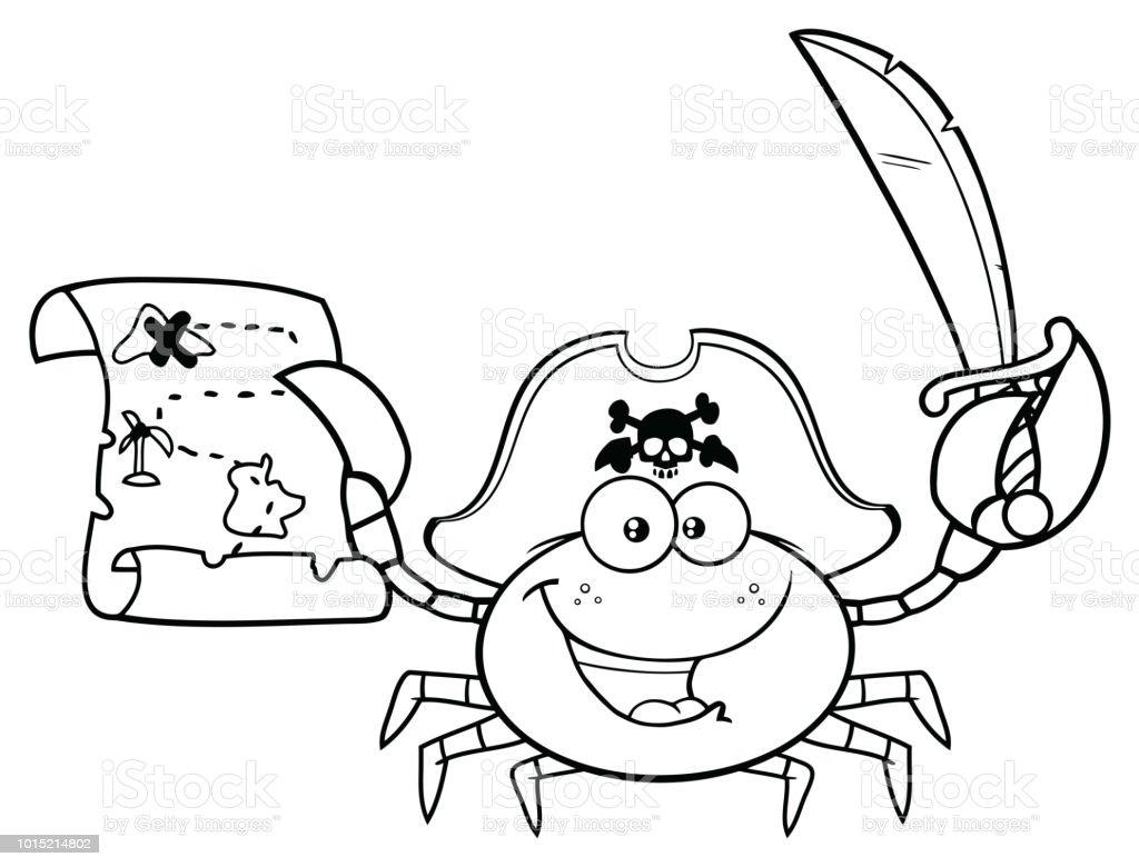 Carte Au Tresor Noir Et Blanc.Noir Et Blanc Pirate Crabe Mascotte Personnage Tenant Une