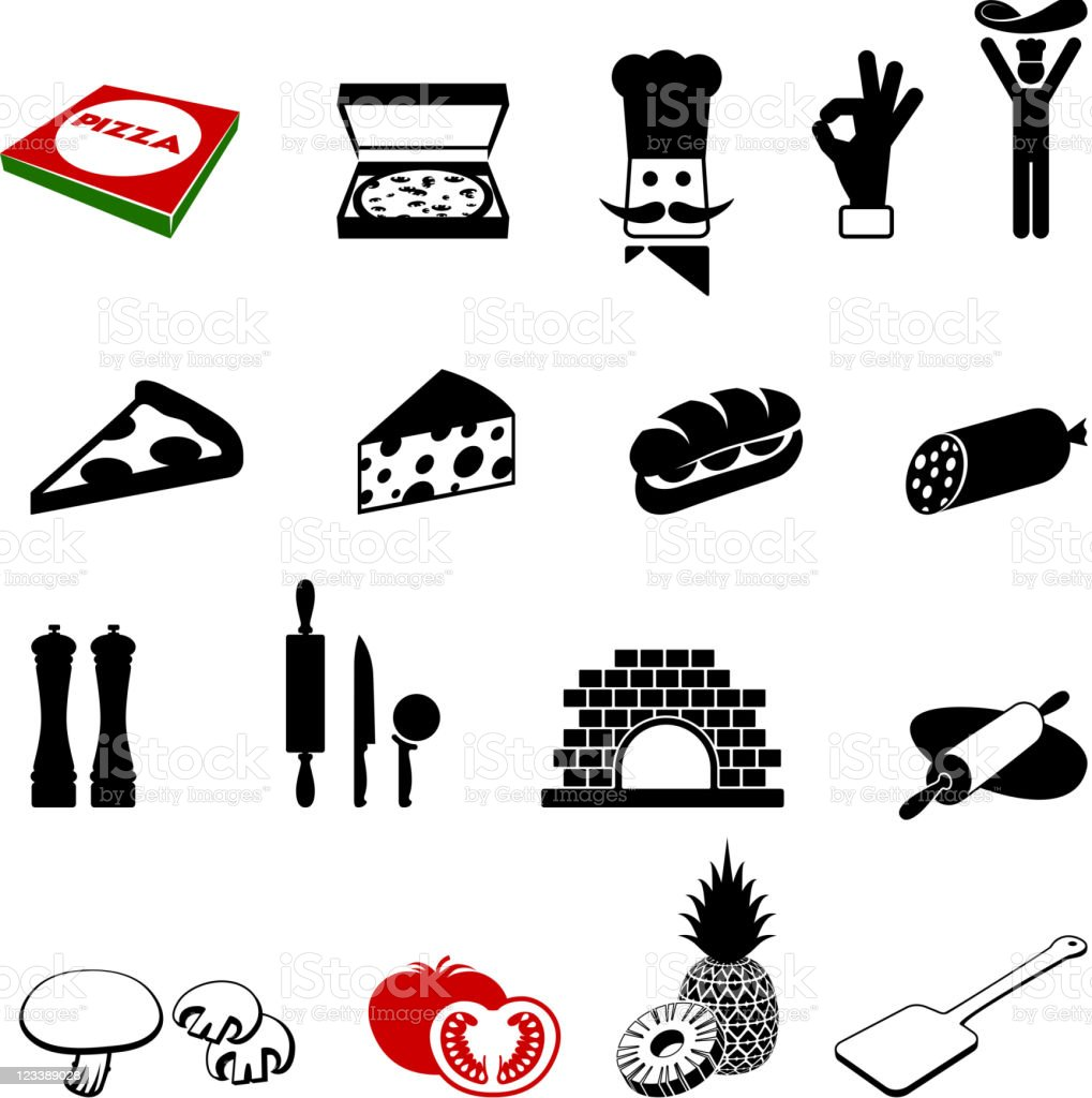 Black and White Pizza Iconography Images vector art illustration