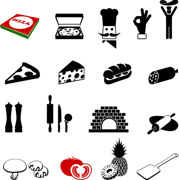 black and white pizza iconography images - sub sandwich stock illustrations, clip art, cartoons, & icons
