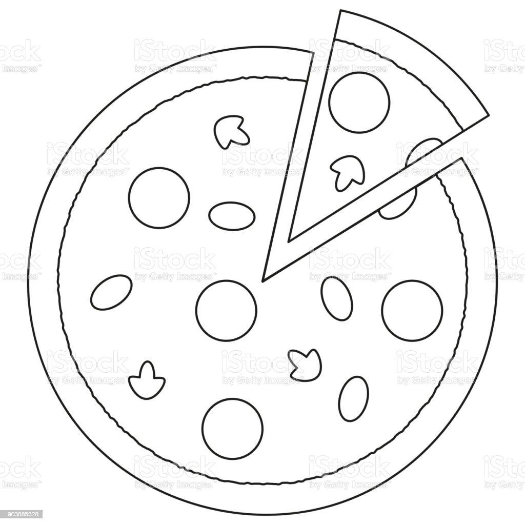 Schwarz Weiß Pizza Slice Fastfood Symbol Plakat Stock Vektor Art Und