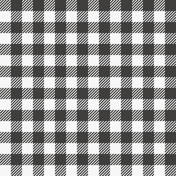 black and white plaid tablecloth vector art illustration