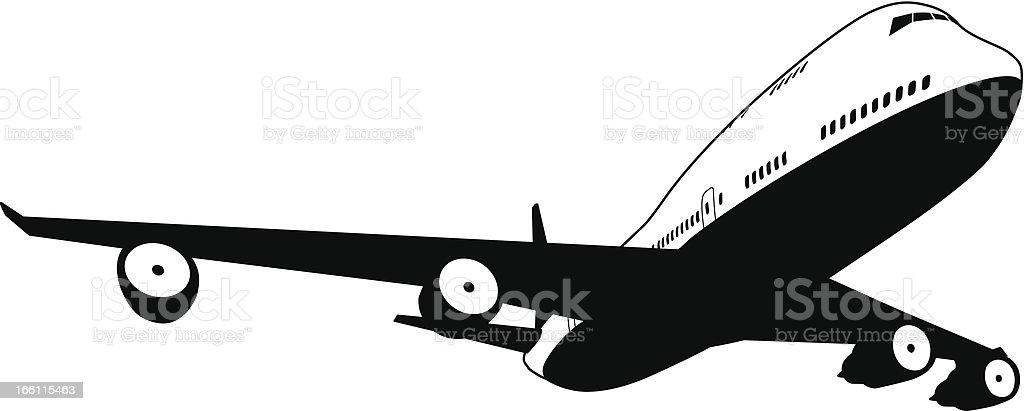 Black and white plane vector art illustration