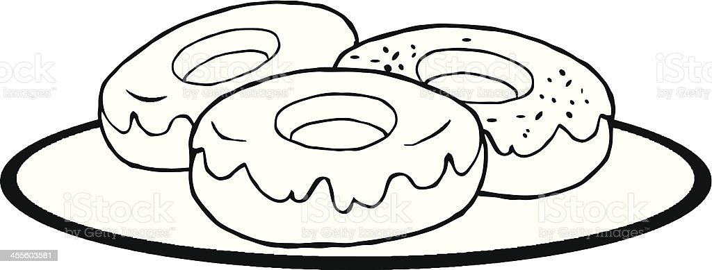 black and white plate of donuts stock vector art more images of rh istockphoto com