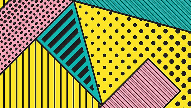 black and white pop art geometric pattern - retro fashion stock illustrations, clip art, cartoons, & icons