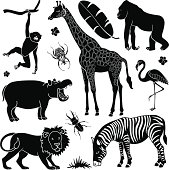 Black and white pop art of African animals