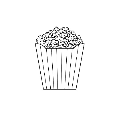 Black and white popcorn pictures for coloring cartoons for kids. This is a vector illustration for preschool and home training for parents and teachers.