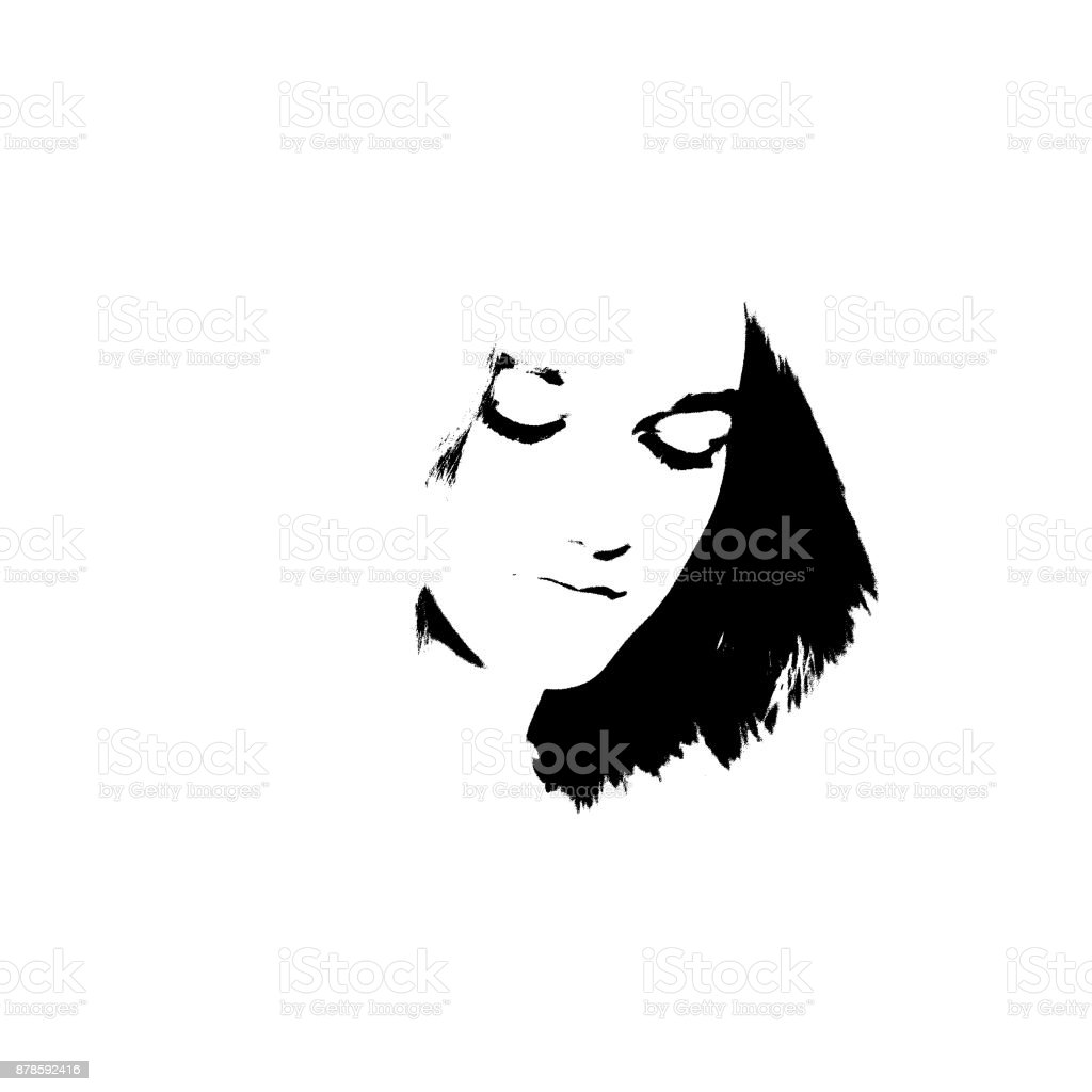 Black and white portrait of young girl векторная иллюстрация