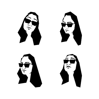 Black and white portraits of an Indian woman in sunglasses.