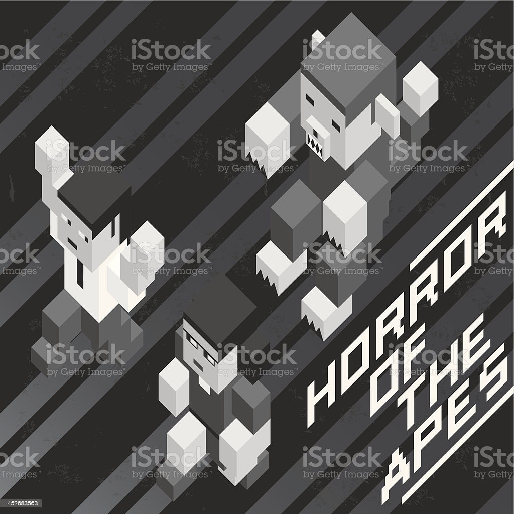 Black and white poster of old horror movie royalty-free stock vector art