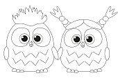 Black and white poster with an owl couple. Coloring book page for adults and kids. Valentine day romantic themed vector illustration for gift card, flyer, certificate or banner