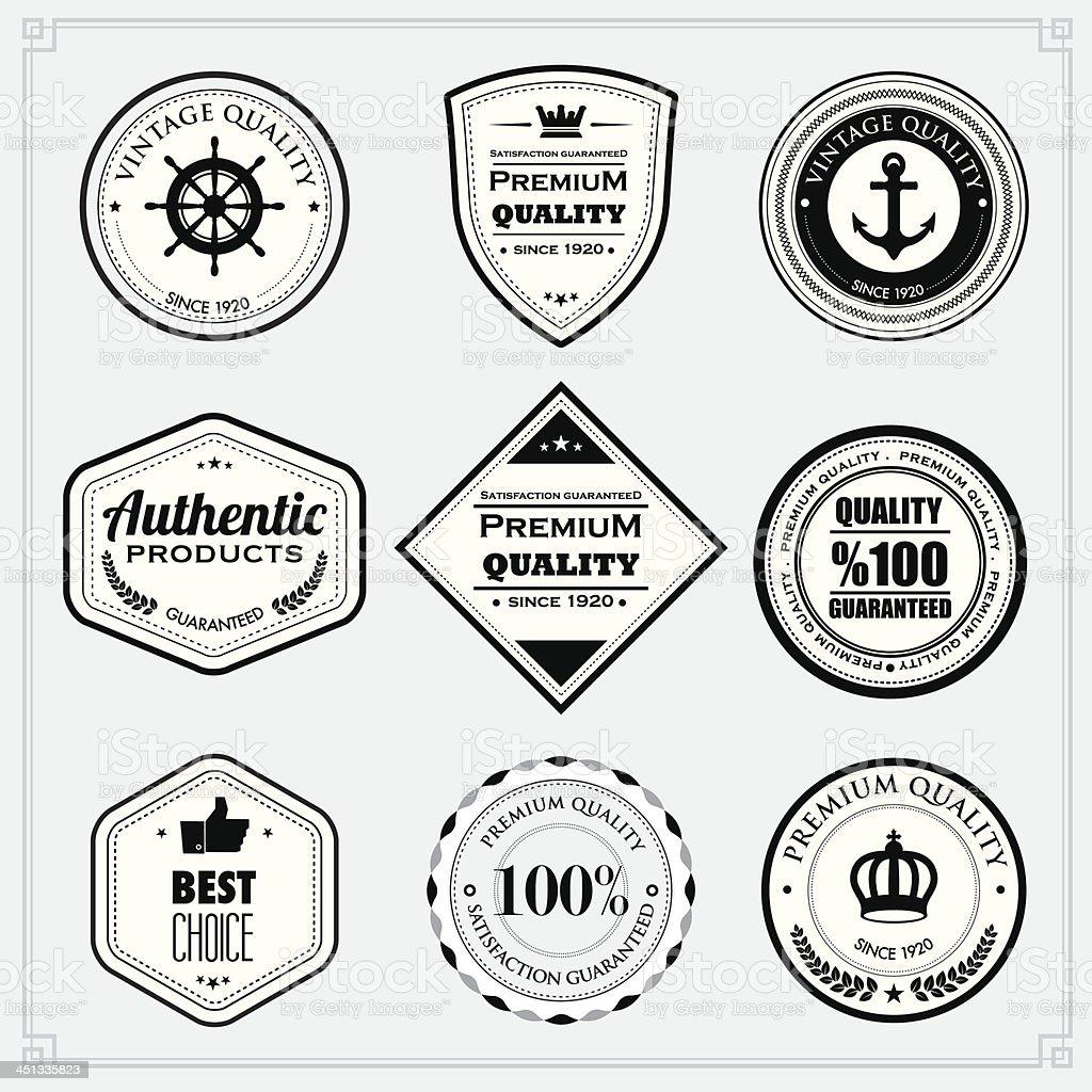 Black and White premium quality stamps vector art illustration